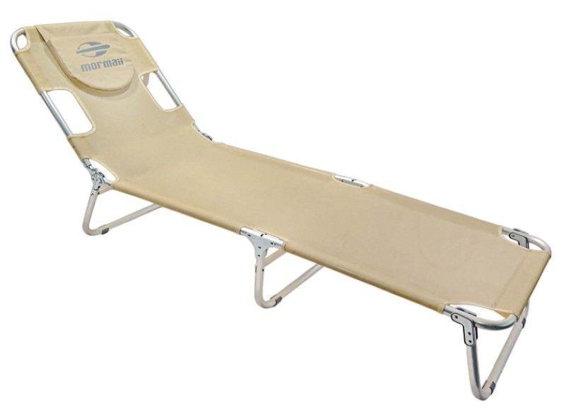 Cadeira Espreguiçadeira Alumínio Regulável Mormaii Textilene - Areia  - FAMATECNOSHOP