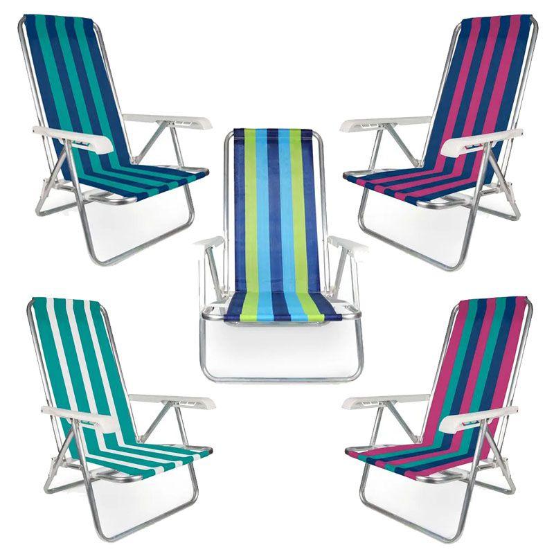 Cadeira Reclinável Alumínio 4 Posições Praia e Piscina - Mor  - FAMATECNOSHOP