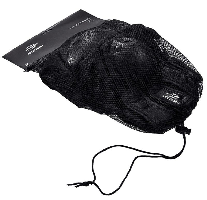 Capacete e Kit de Proteção Mormaii - Tamanho G - Preto  - FAMATECNOSHOP