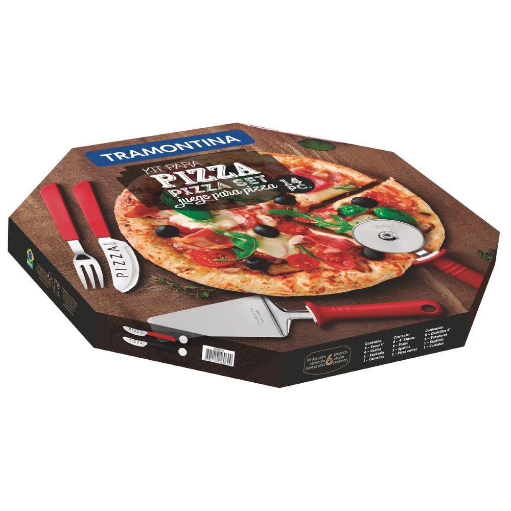 Kit para Pizza Tramontina com Lâminas em Aço Inox e Cabos de Polipropileno Vermelho 14 Peças  - FAMATECNOSHOP