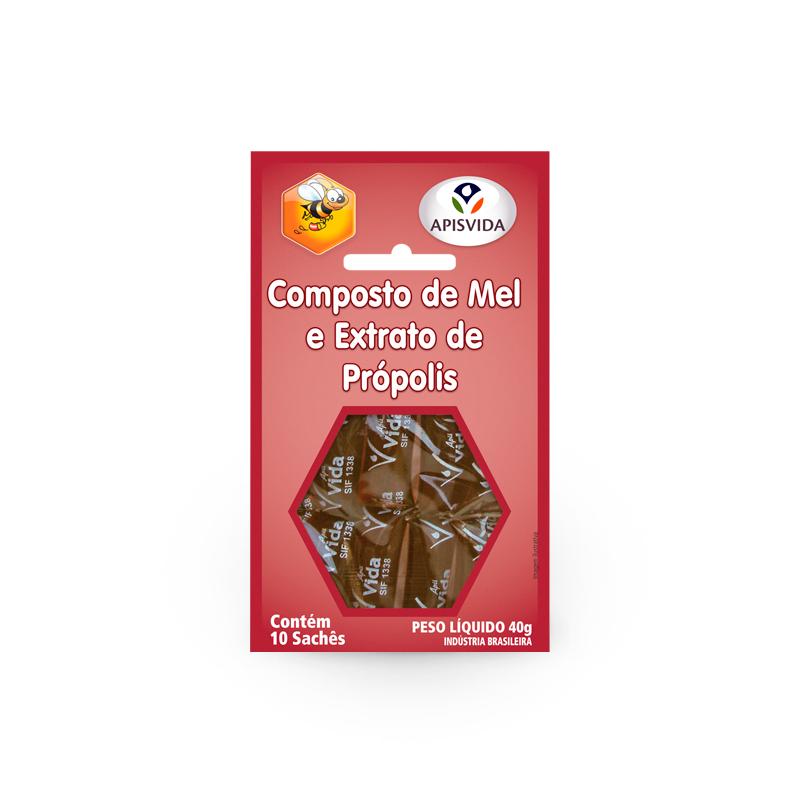 Mel Com Própolis Sache Cartela 40g