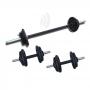 Kit Fitness 30Kg com 2 Barras de 40cm Rosca e 1 Barra 1,20m