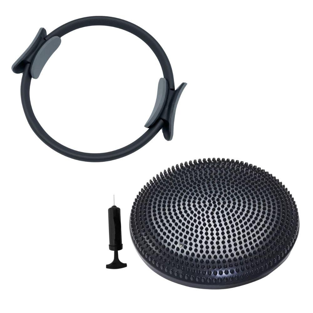 Anel De Pilates Magic Circle + Disco De Equilíbrio E Bomba