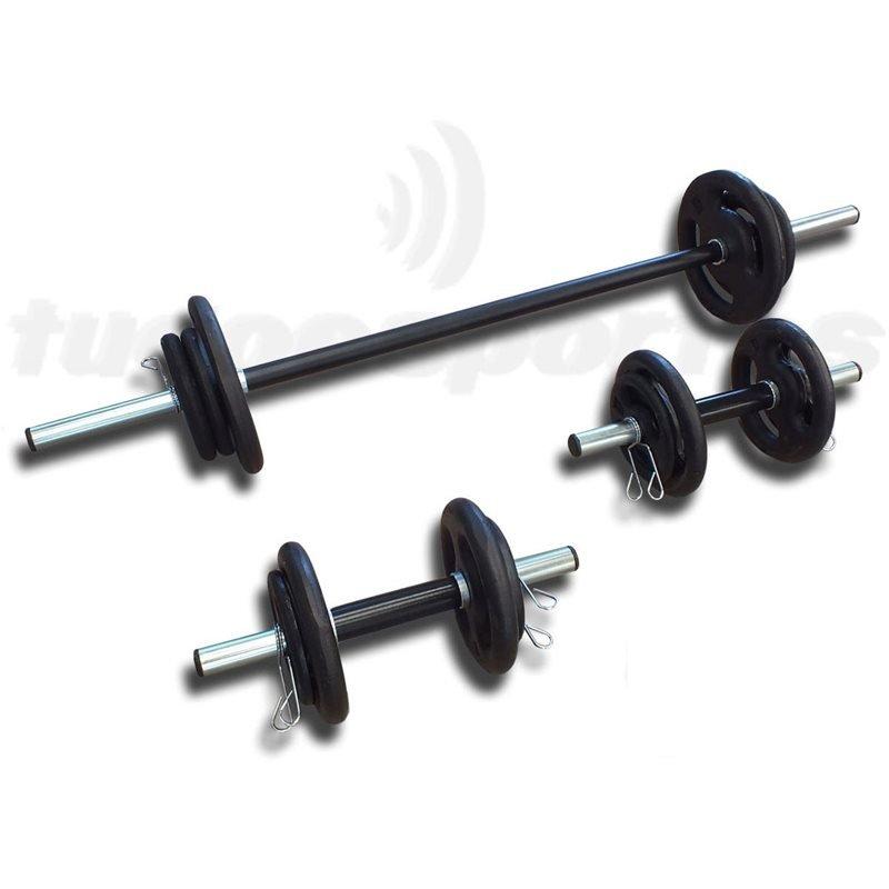 Kit Fitness 30Kg com 2 Barras de 40cm e 1 Barra 1,20m