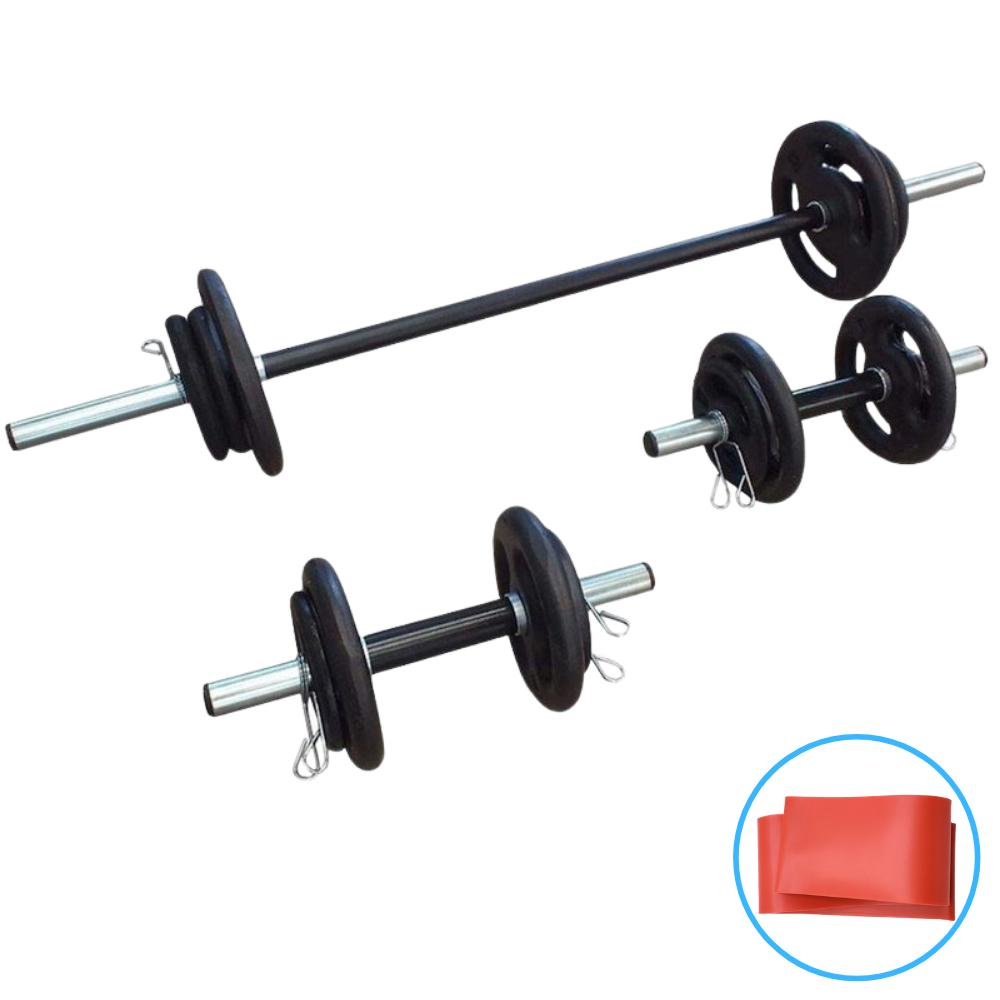 Kit Fitness 30Kg com 3 Barras e Mini Band