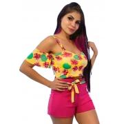 Conjunto cropped amarelo floral  shorts pink