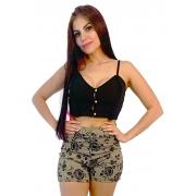Conjunto cropped preto trança/ shorts bordado nude