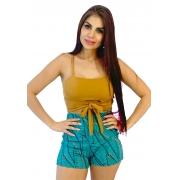 Conjunto folhas cropped bege/ shorts azul