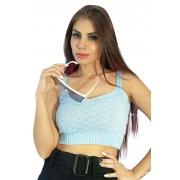 Cropped alcinha tricô azul claro