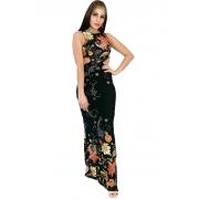Vestido longo floral preto