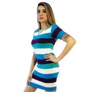 Vestido tricô listrado manga curta