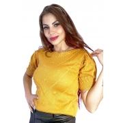 Blusa tricô manga curta princesa relevos e pedras