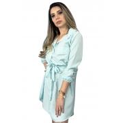 Vestido chamise azul bebe em viscose, manga longa com punho, acompanha cinto.