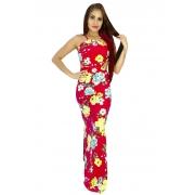 Vestido longo amarrar vermelho floral