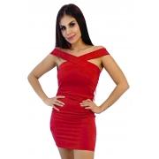 Vestido vermelho curto trançado frente