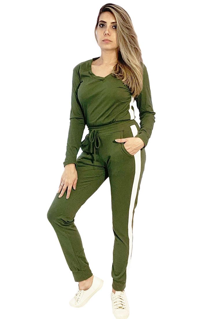 Conjunto canelado verde militar com listra branca  - Loomine