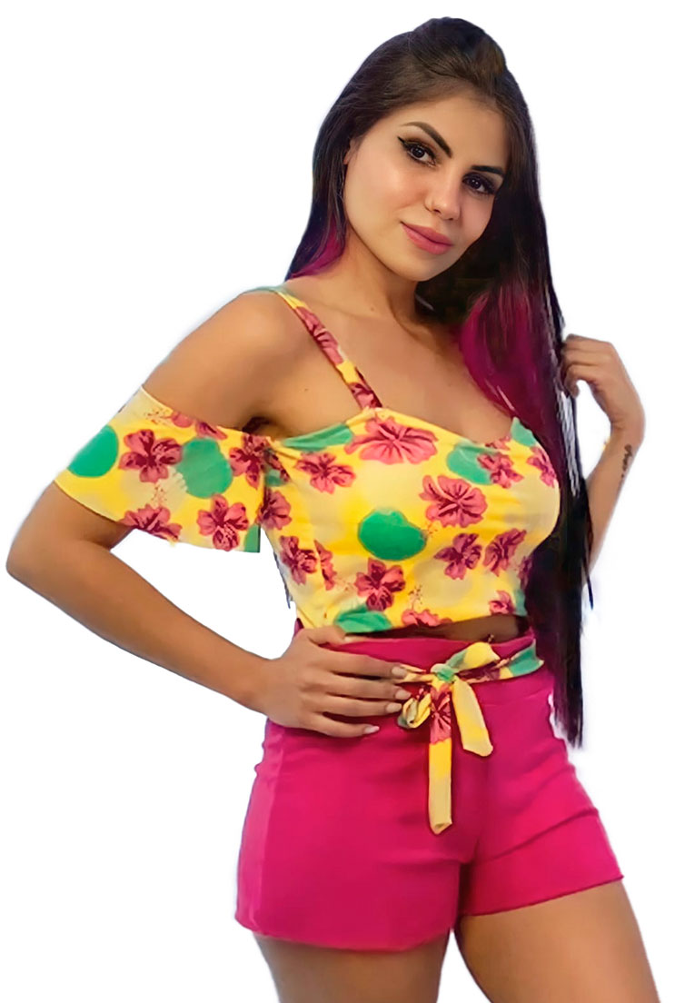 Conjunto cropped amarelo floral  shorts pink  - Loomine