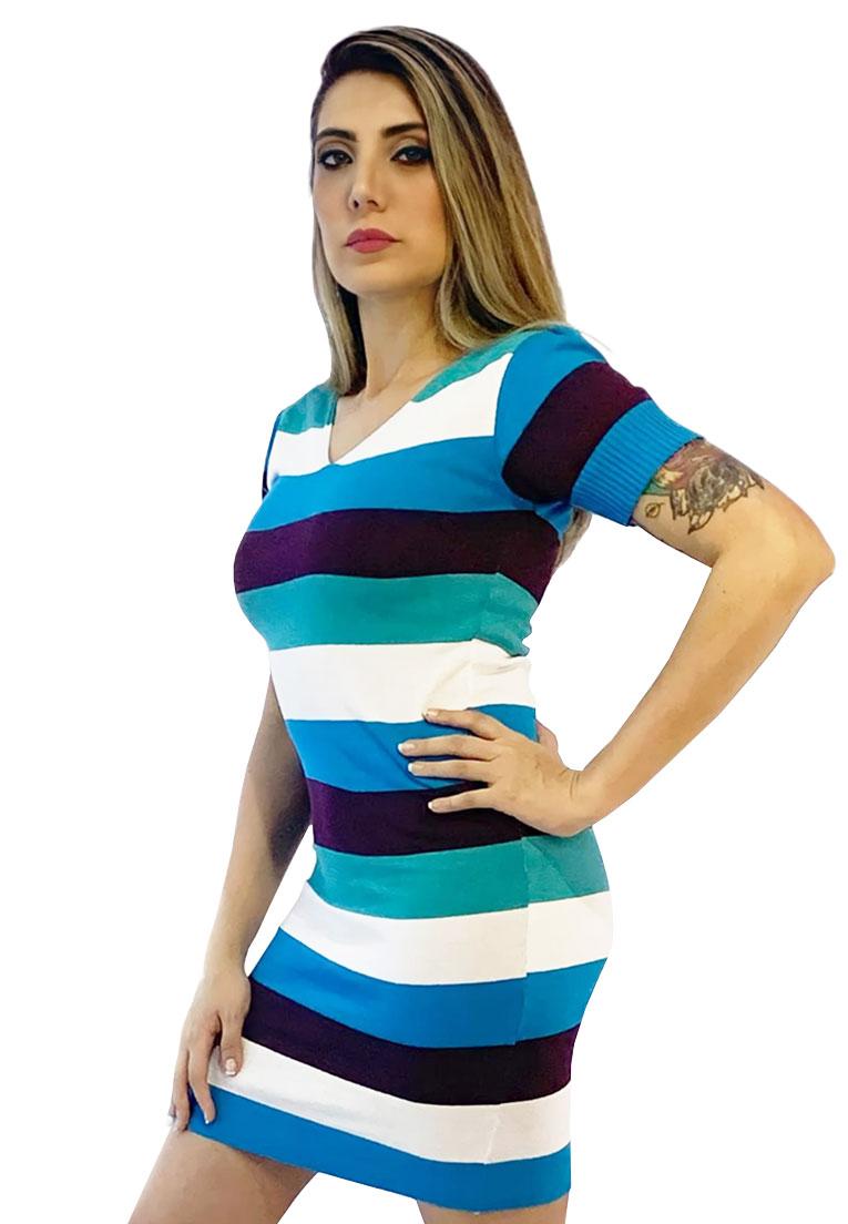 Vestido tricô listrado manga curta  - Loomine