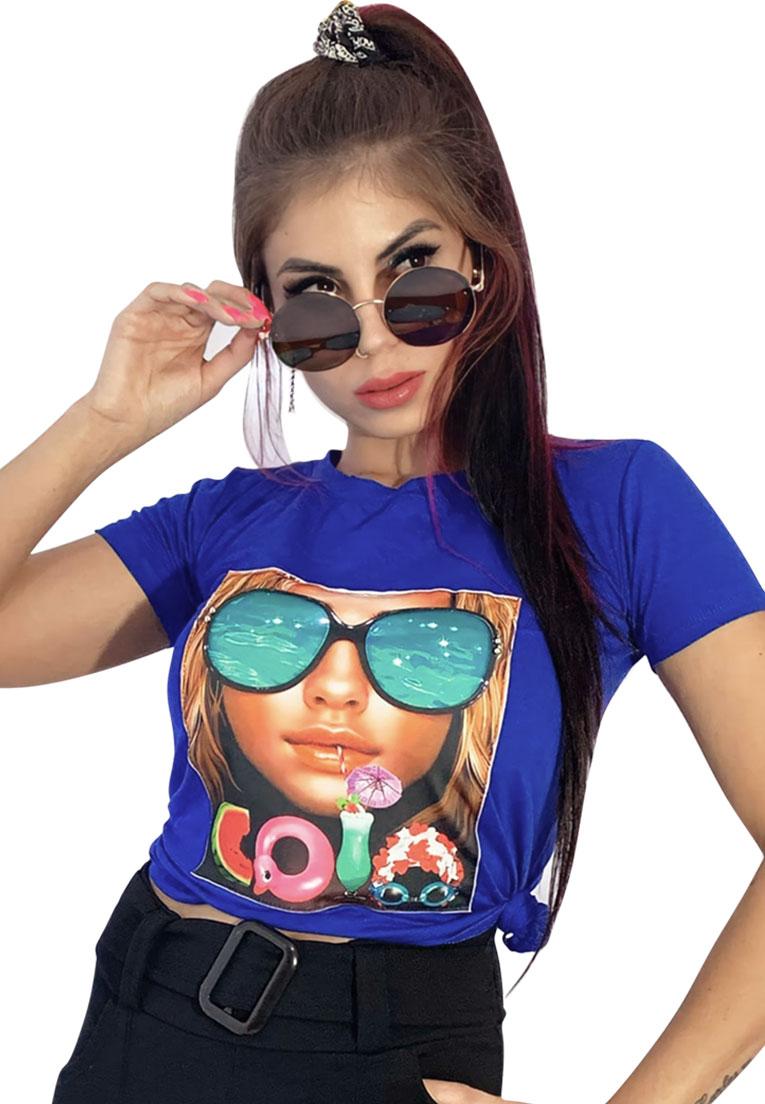 Camiseta estampa pedraria mulher com óculos  - Loomine