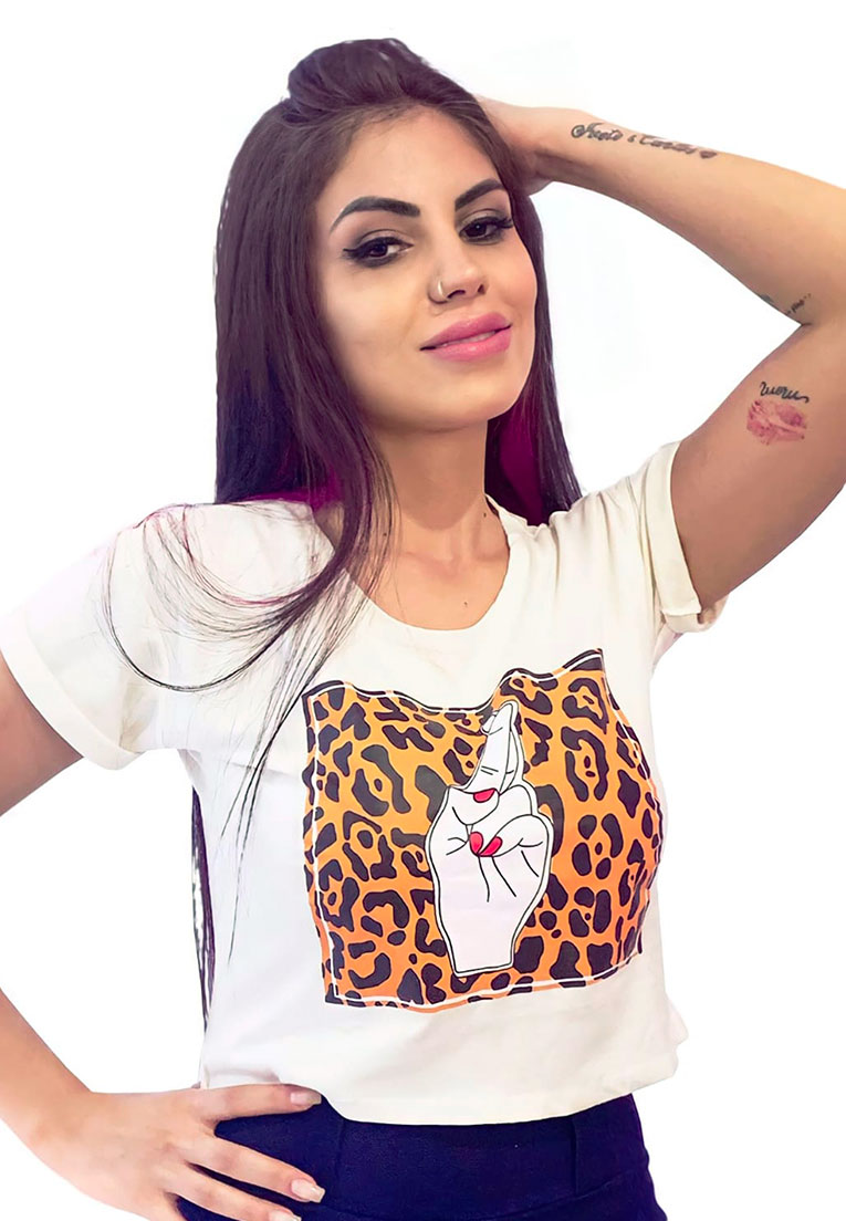 Tshirt cropped Dedos Cruzados Oncinha  - Loomine