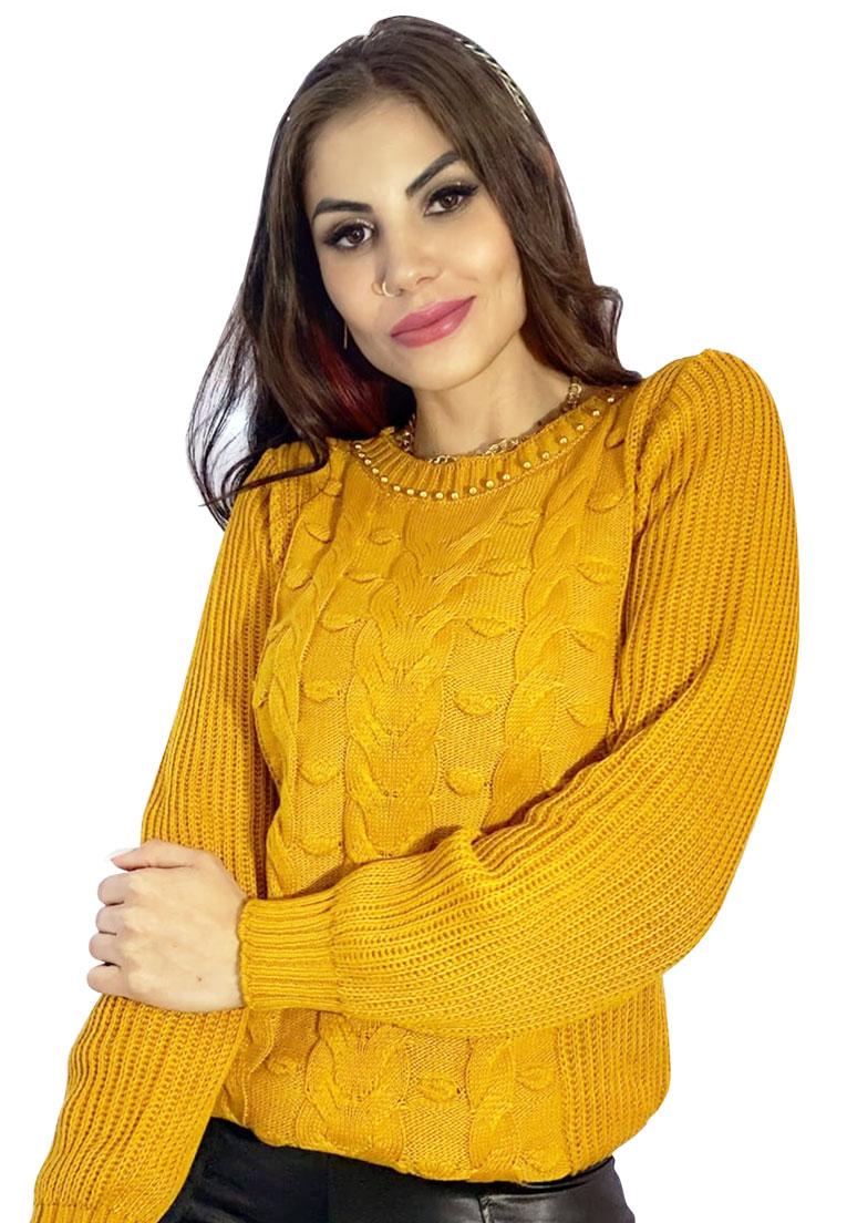 Blusa tricô tranças relevo pedras gola  - Loomine