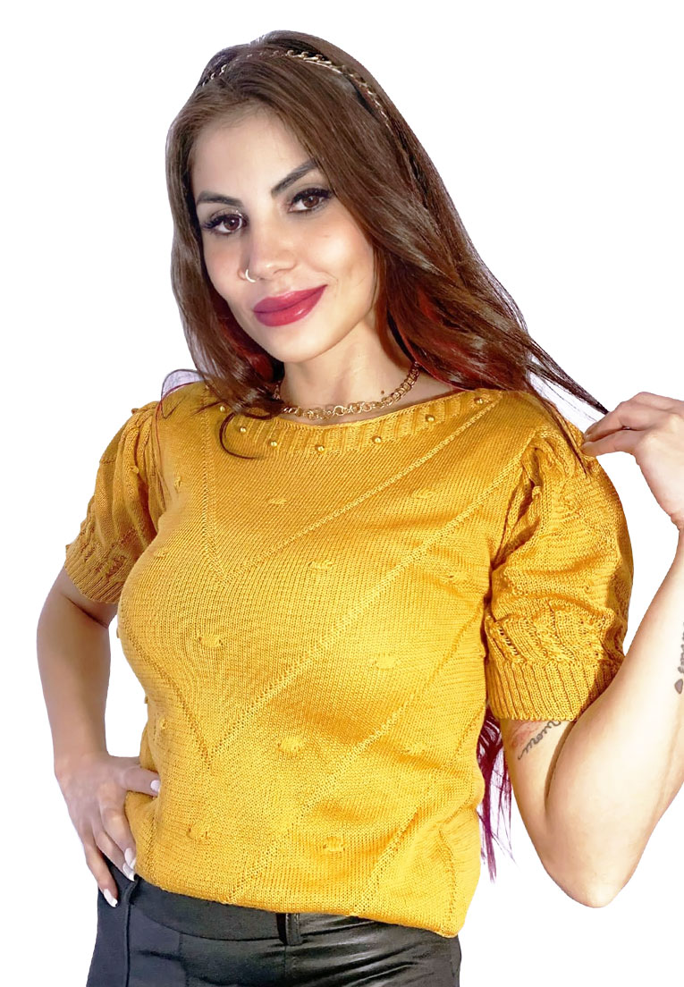Blusa tricô manga curta princesa relevos e pedras  - Loomine