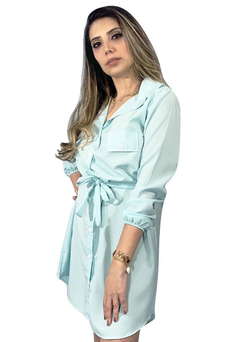 Vestido chamise azul bebe em viscose, manga longa com punho, acompanha cinto.  - Loomine