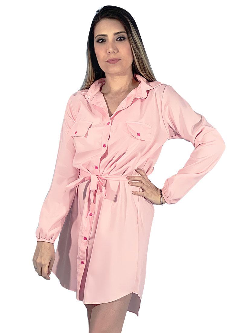 Vestido chamise rosa bebe em viscose, manga longa com punho, acompanha cinto.  - Loomine