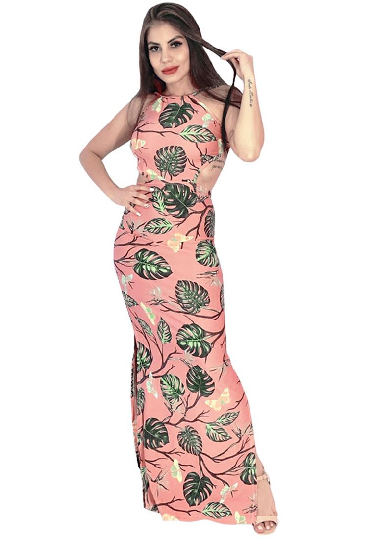 Vestido longo amarrar rosê  - Loomine