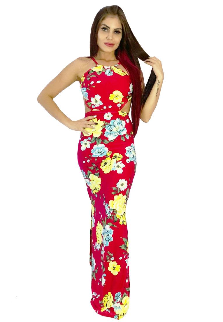 Vestido longo amarrar vermelho floral  - Loomine