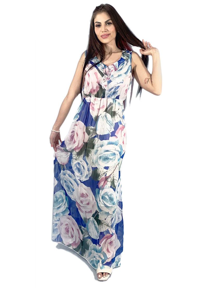 Vestido longo sem manga, flowers blue.  - Loomine