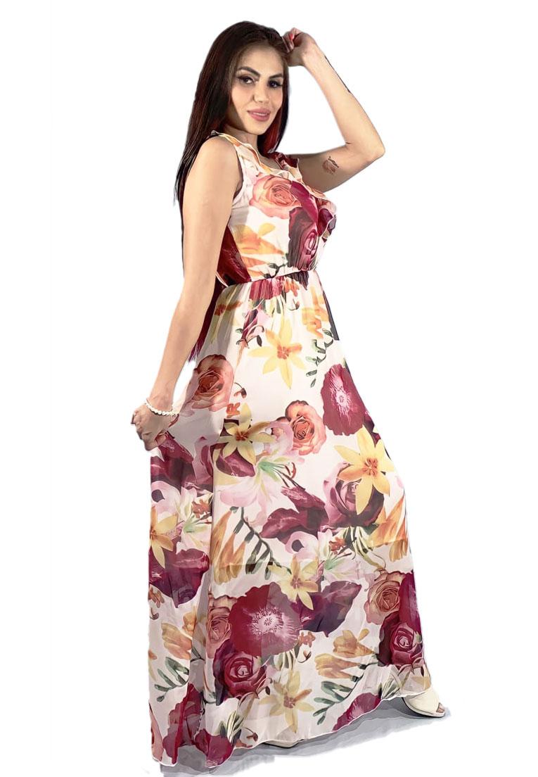 Vestido longo sem manga, flowers pink.  - Loomine