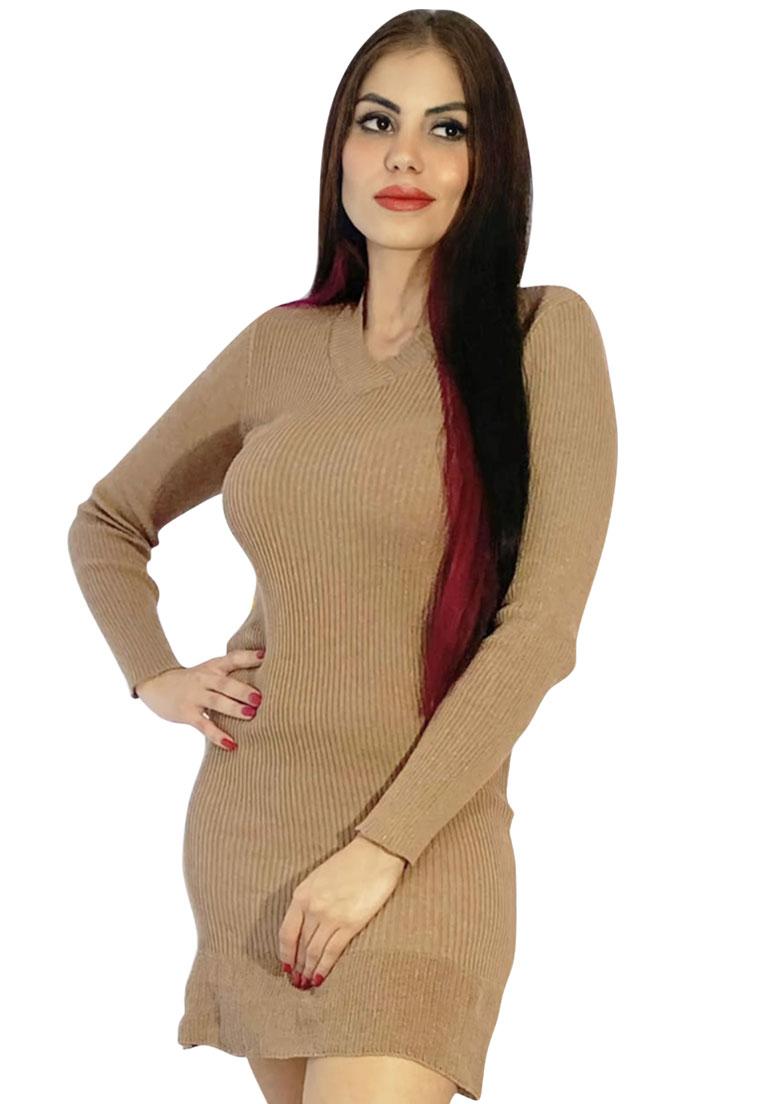 Vestido manga longa marrom tricô  barra babado  - Loomine
