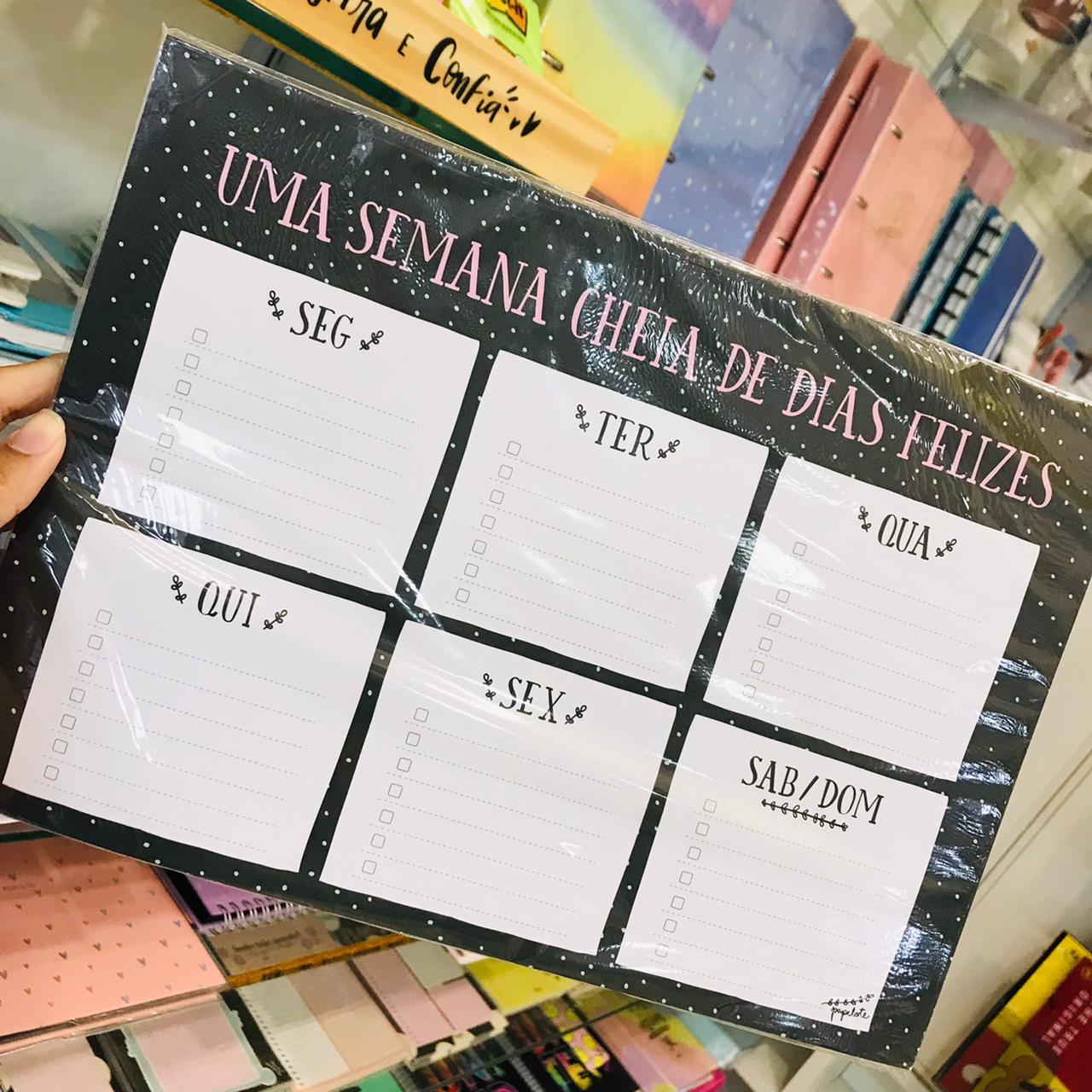 Bloco Planner de Mesa Semanal 25 Fls A4 - PAPELOTE