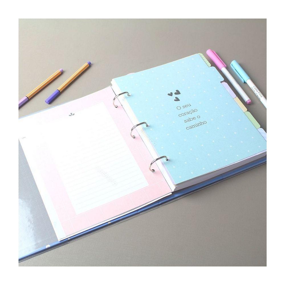 Caderno Argolado Corações Holográficos Azul FINA IDEIA