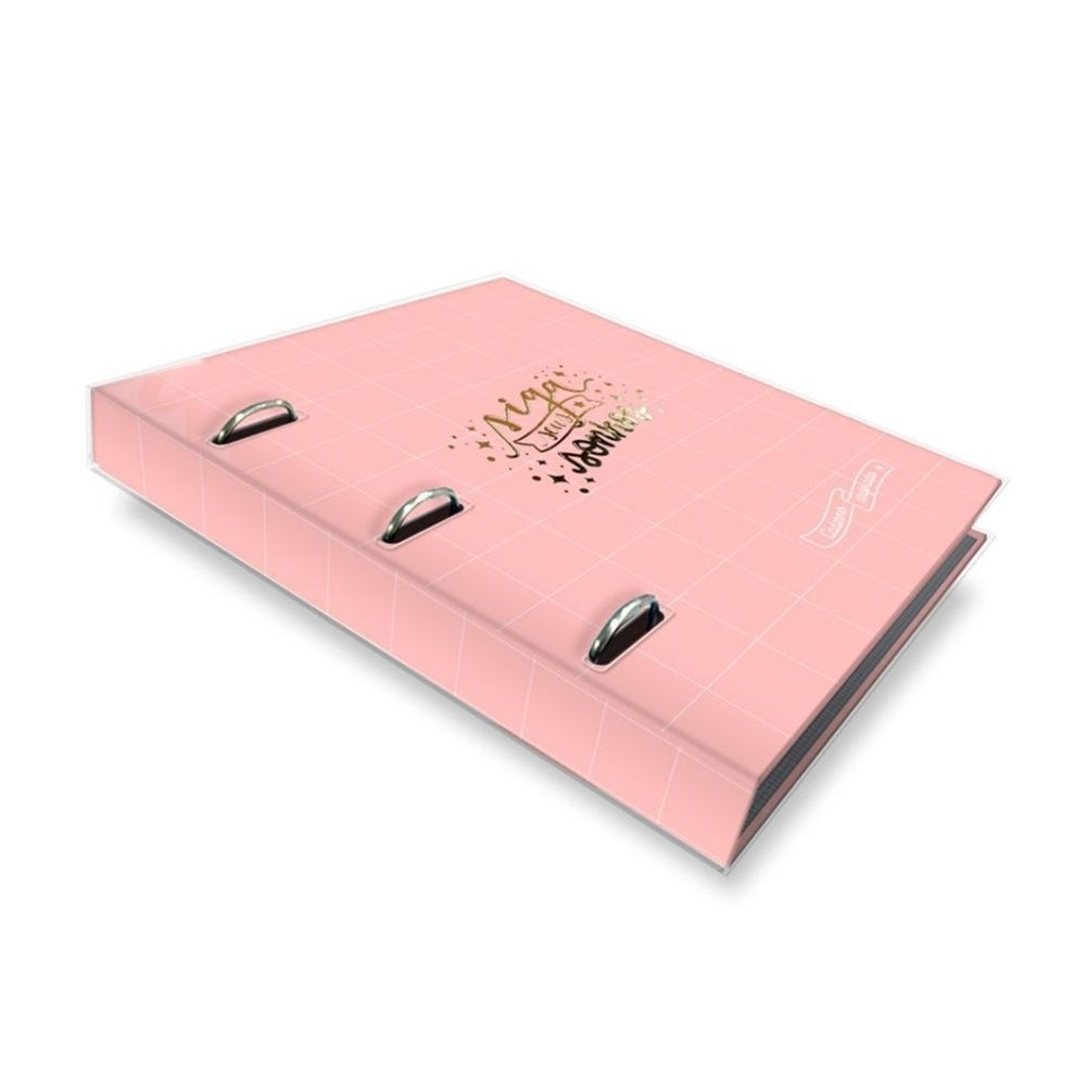 Caderno Argolado Rosa Quadriculado FINA IDEIA
