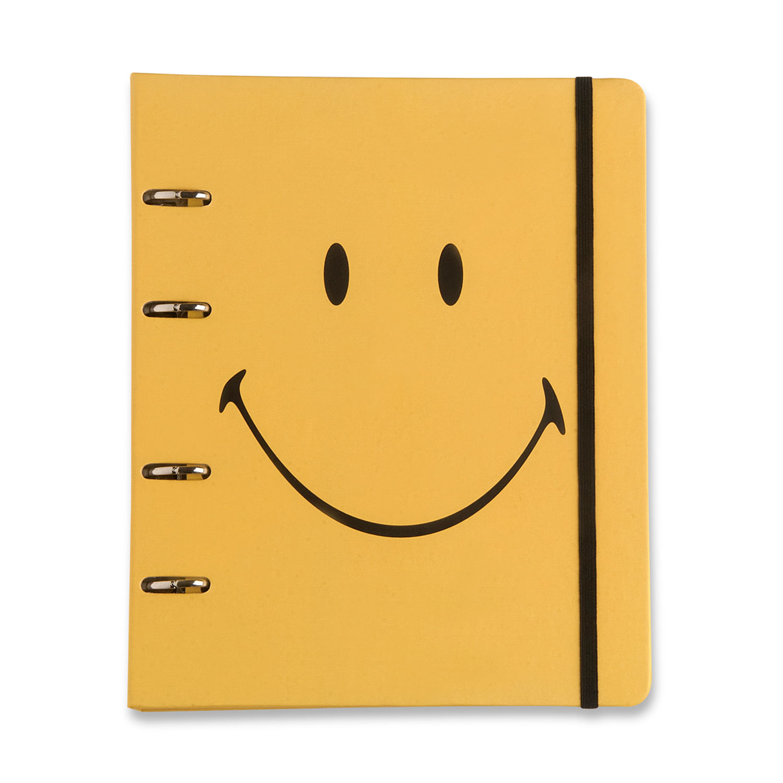 Caderno Criativo Argolado Smiley Amarelo 17x24 Pautado CÍCERO