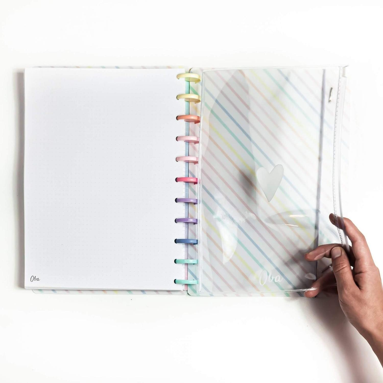 Caderno de Disco A5 Minimalista Preto Pautado OBA PAPELARIA