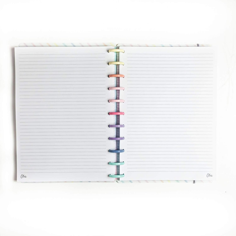 Caderno de Disco A5 Minimalista Verde Pautado OBA PAPELARIA