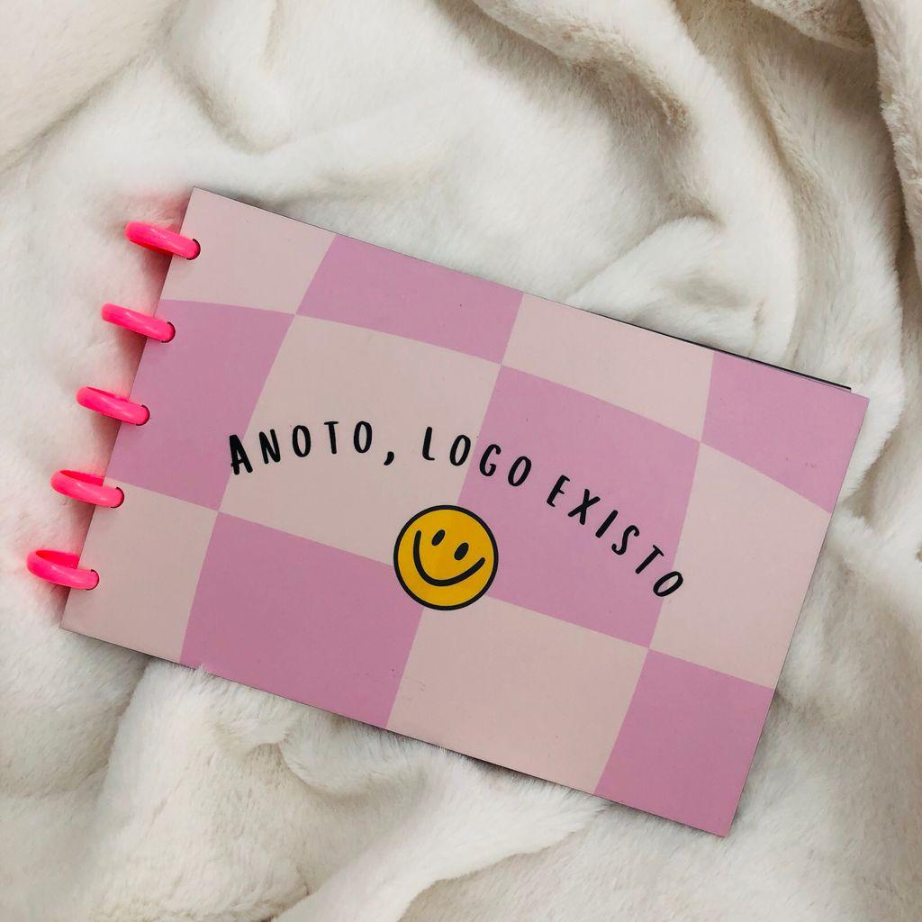 """Caderno de Fichas de Disco 30Fls 21x13cm """"Anoto, logo existo"""" EMPLACA"""