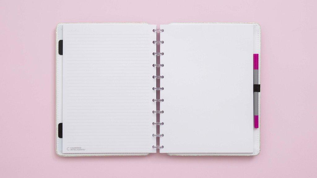 Caderno Inteligente Rosa Holográfico CI