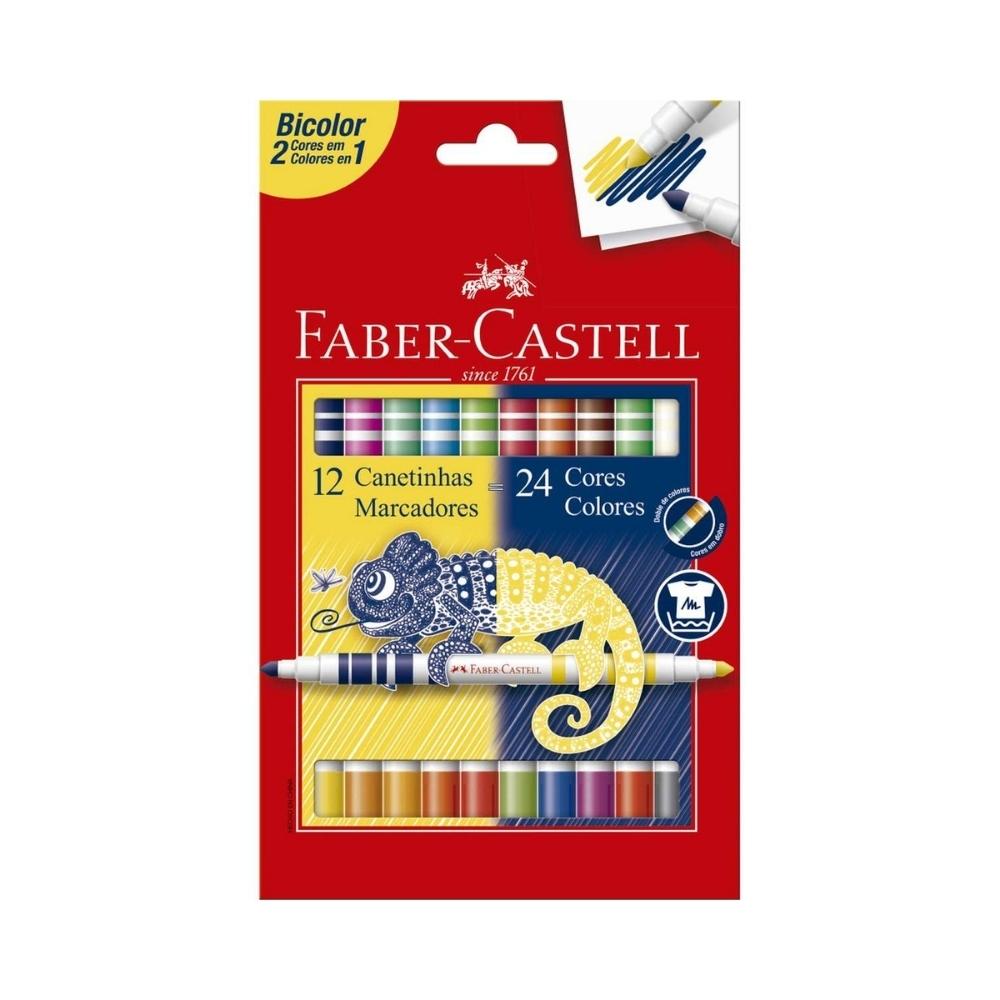 Canetinha Bicolor Hidrográfica 12/24 Cores FABER CASTELL