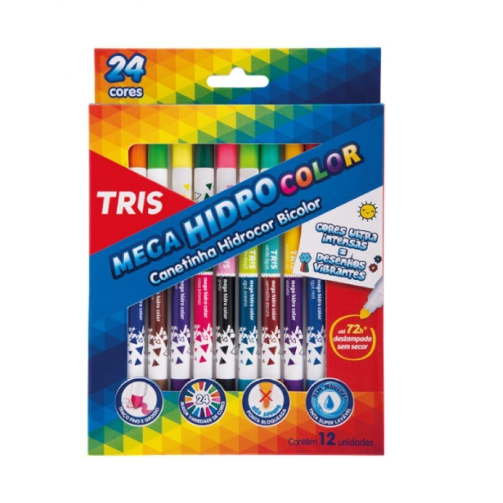 Canetinha Bicolor Hidrográfica 12/24 Cores TRIS
