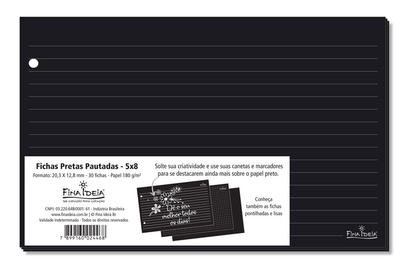 Fichas Pretas Pautadas Linhas Brancas 5x8 30 Unidades FINA IDEIA