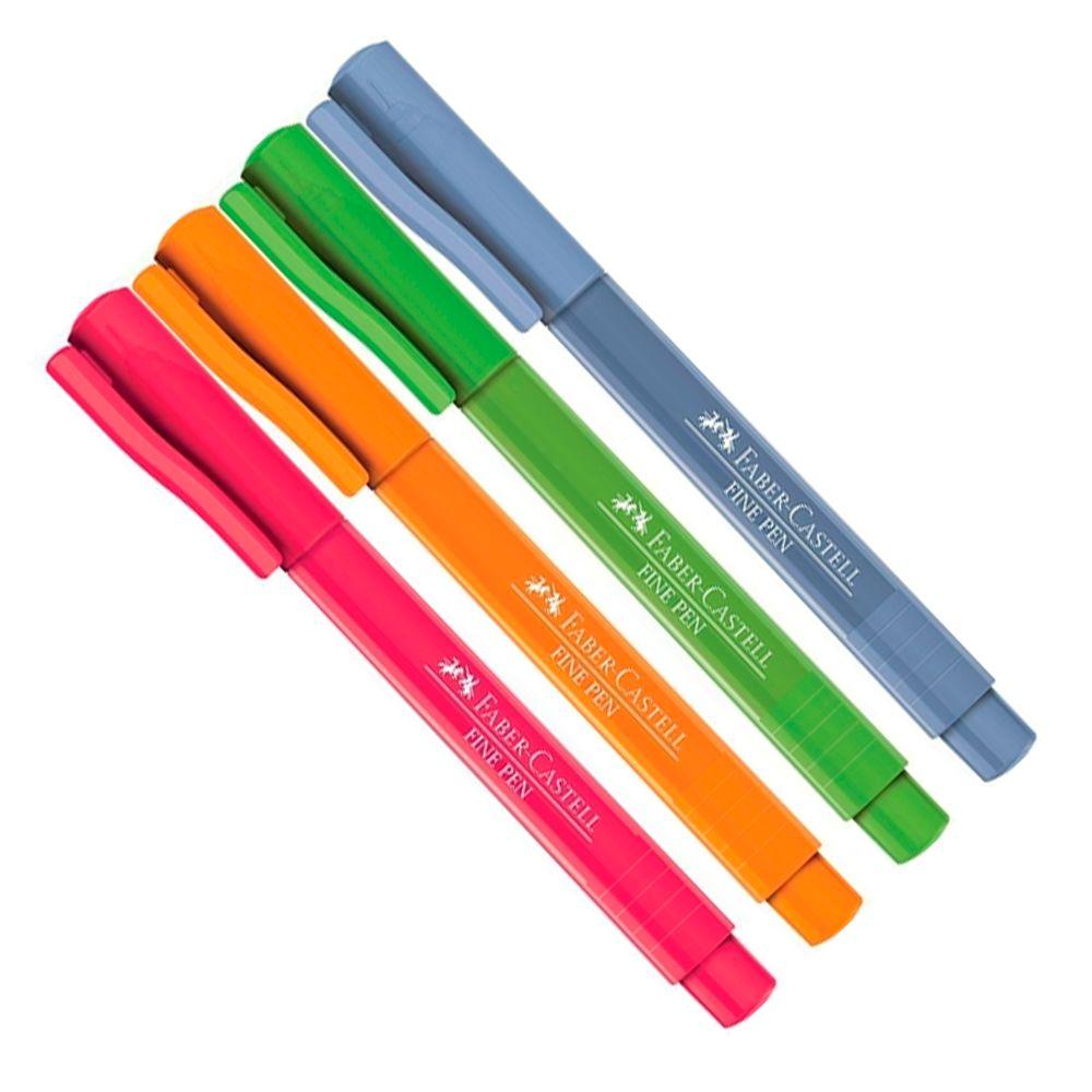 Kit 4 Cores Canetas Fine Pen 0.4mm FABER CASTELL