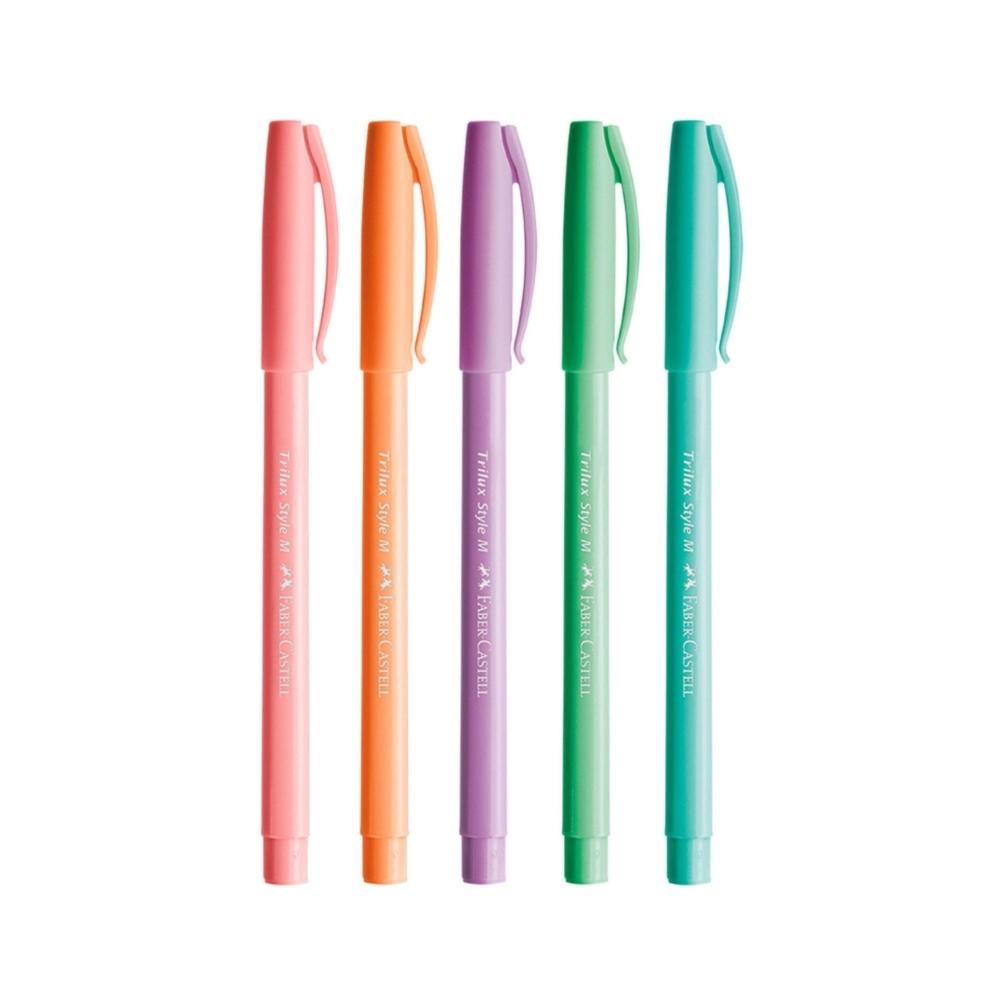 Kit 5 Canetas Trilux Tons Pastel FABER CASTELL