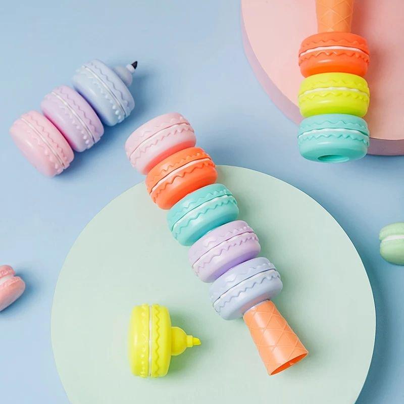 Kit 6 Cores Marca-Texto Macarons