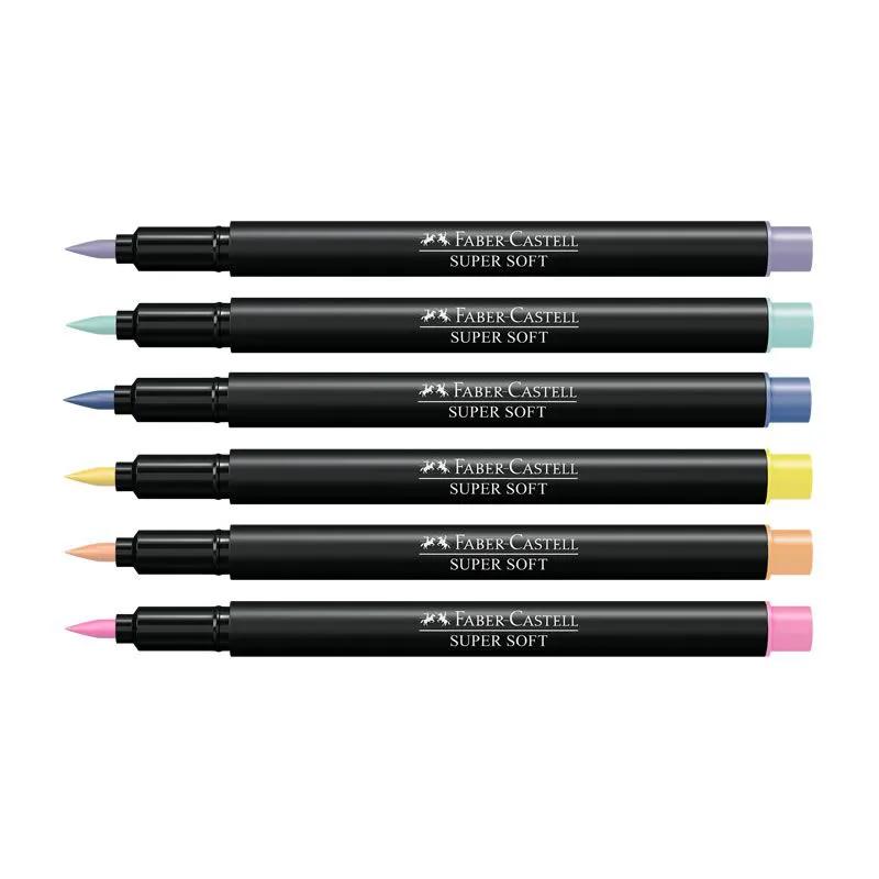 Kit Brush Pen 06 Cores Pastel Super Soft FABER CASTELL