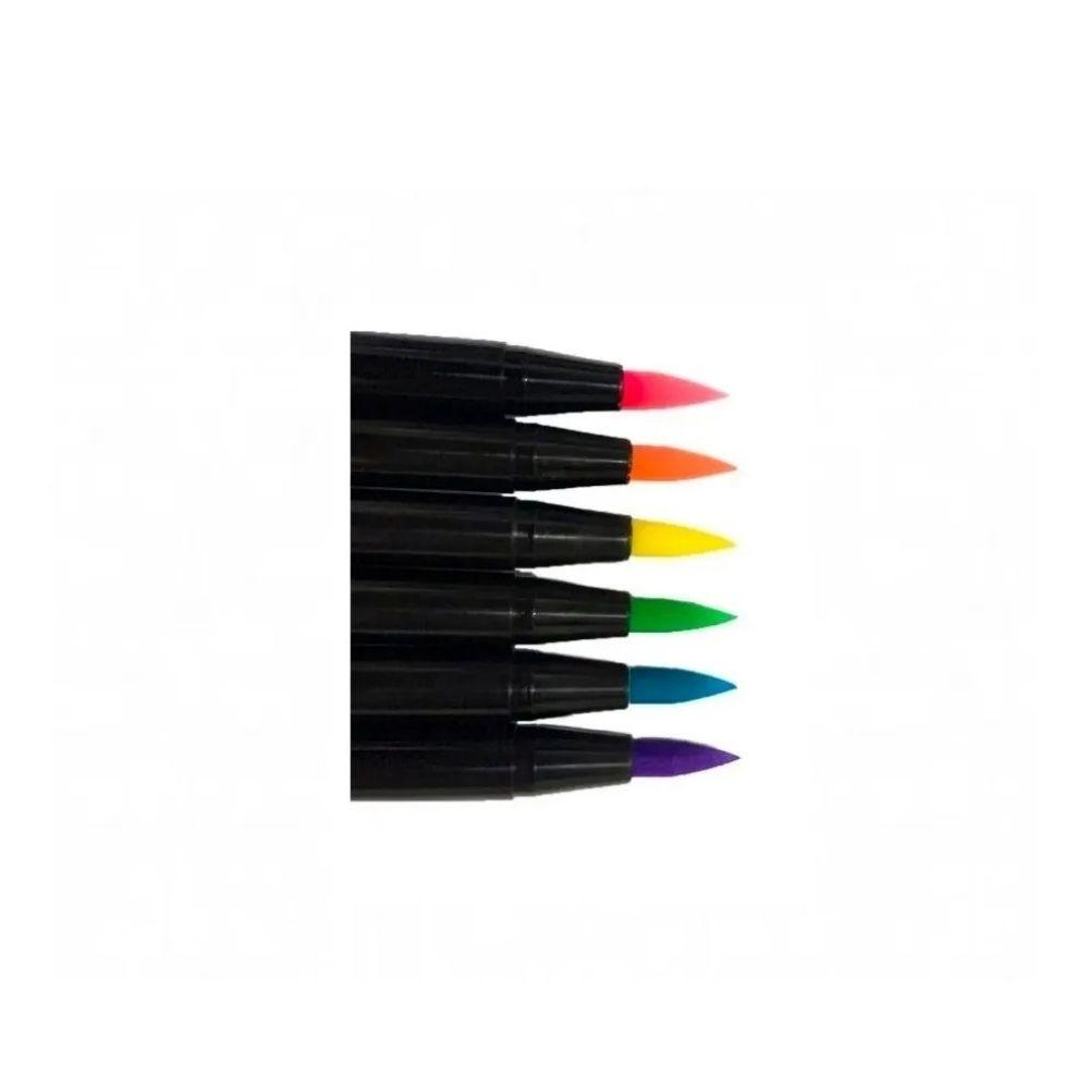 Kit Brush Pen 16 Cores Aquarelável New Pen