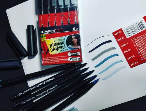 Kit Brush Pen 6 Cores Tons de Cinza Marina Viabone NEW PEN